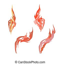 Set flame. Fire on a white background. Vector illustration