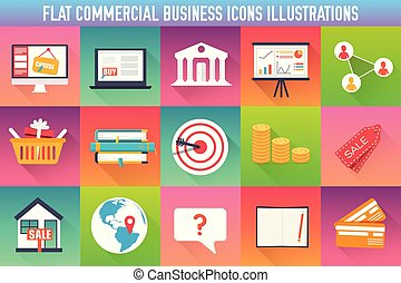 set flat business commerce icons modern design. Vector illustration concept. Template for website and mobile appliance