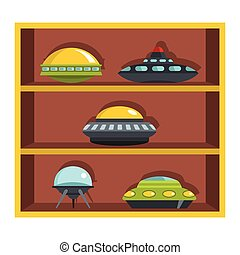 Set flat cartoon shelf with ufo