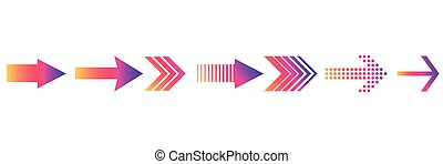 Set flat colored arrows isolated on a white background.