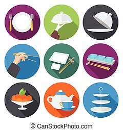 Set flat design icons for restaurant,