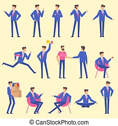 Set  flat design man character animation poses