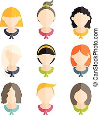 Set flat design of girls with different hairstyles. Vector illustration