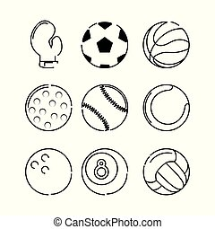 set flat icon ball sport