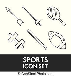 set flat icon tools sport