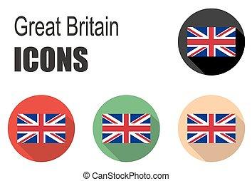 set flat icons great britain