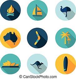 set flat icons of Australia