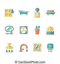 Set flat icons of bathroom