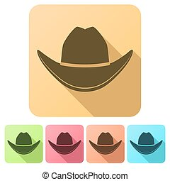 Set Flat icons of Black cowboy hat. Vector Illustration