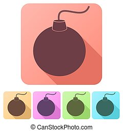 Set Flat icons of Bomb. Vector Illustration.