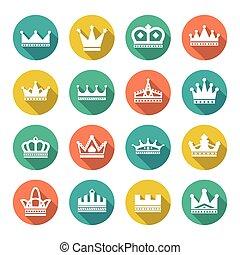Set flat icons of crown