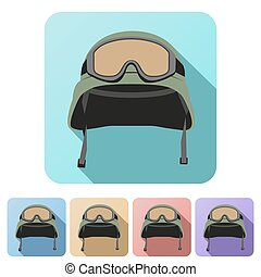 Set Flat icons of green military helmet with goggles