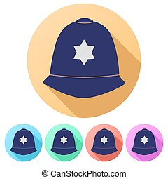 Set Flat icons of helmet metropolitan British police