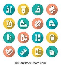 Set flat icons of hygiene