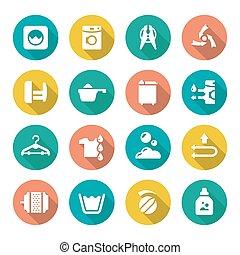 Set flat icons of laundry