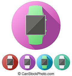 Set flat icons of Original design smartwatch.