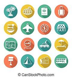Set flat icons of travel, tourism
