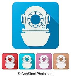 Set Flat icons of Underwater diving helmet. Vector Illustration