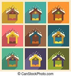 Set flat icons with long shadow Christmas barn