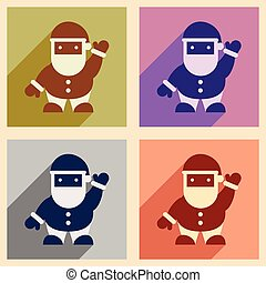 Set flat icons with long shadow Santa Claus
