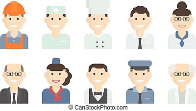 Set Flat Icons with Man of Different Professions. Builder,...