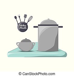 set flat kitchen utensils and tools icon