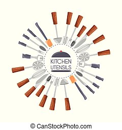 set flat kitchen utensils