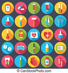 set flat medical icons illustration concept. Vector background design