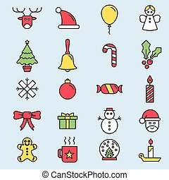 Set flat outlined Christmas icons