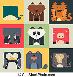 Set flat square icons of a cute animals on color background. Wildeness and Nature logos