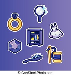 Set flat stickers golden ring, diamond, mirror, dress, wardrobe, hairbrush and thread with a needle. Female accessories, fashion and style, outline illustration in flat style.