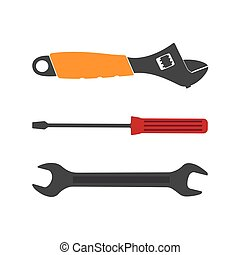 Set flat tool icons on white background