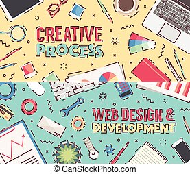 Set flat vector office creative process web design