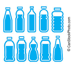 set, fles, plastic