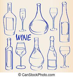 set, flessen, bril, pictogram, wijntje