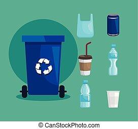 set, flessen, plastic, hergebruiken, mand, koppen