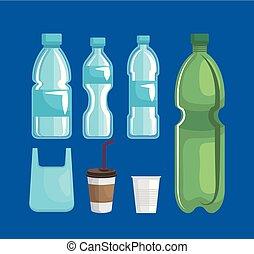 set, flessen, plastic zak, vergiftig, koppen