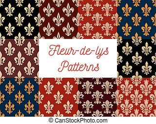 set, fleur-de-lis, heraldisch, koninklijk, motieven, floral