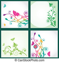 Set Floral card with butterflies