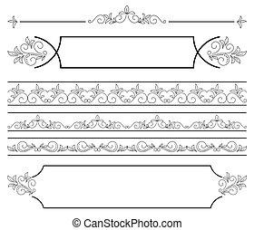 set - floral elements for design