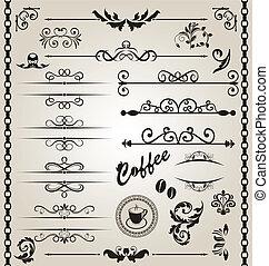 Set floral ornate design elements (7) - Illustration set...