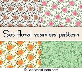Set floral seamless pattern. Vector illustration background.