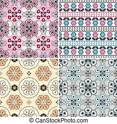 Set floral seamless patterns