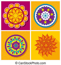 set flower mandalas decoration festival