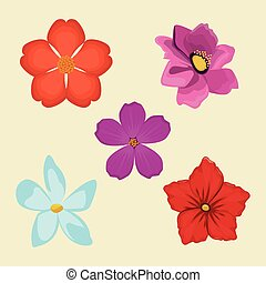 set flowers spring decoration image