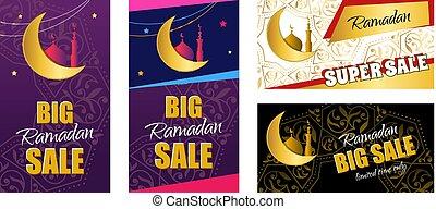 Set flyer - Ramadan Big Sale. Design web banner with beautiful c