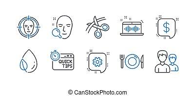 set, foglia, affari, rugiada, icone, tips., vettore, forbici, rapido, tale