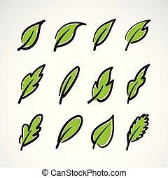 set, foglia, illustration., background.collection, foglie, editable, vettore, facile, logotipo, bianco, icona, a più livelli, design.