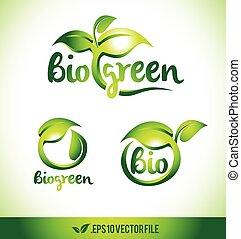 set, foglia, vettore, disegno, logotipo, verde, icon.