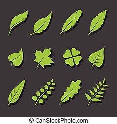 set, foglie, vettore, sfondo nero, verde, icona